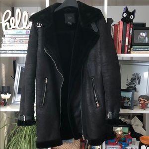 Forever 21 Long line Shearling Moto Jacket